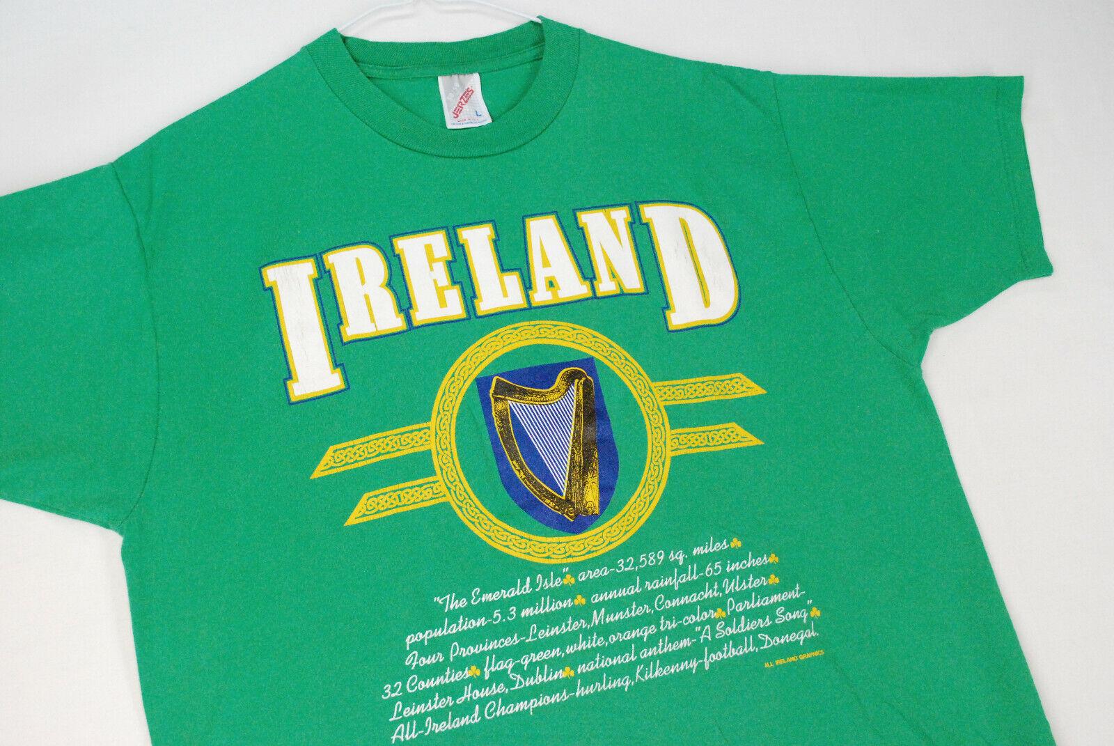 Vintage 90s Ireland Souvenir Tourist T Shirt Green Mens L USA SOFT THIN Irish