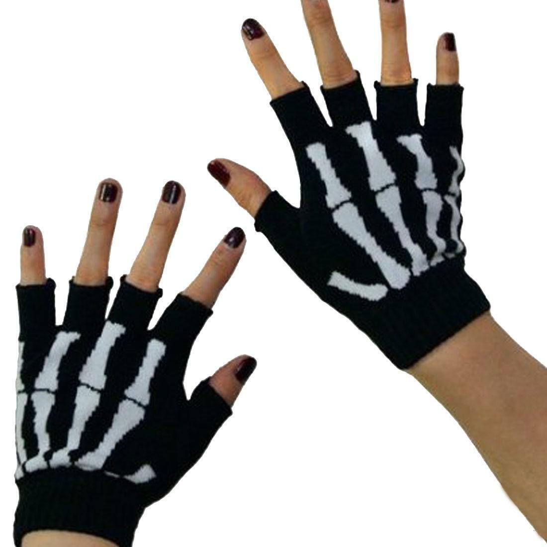 Ladies skull /& cross bone finger-less fingerless gloves Emo Black white Pirate?