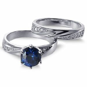 Blue-Sapphire-Brilliant-Engagement-Sterling-Silver-Ring-Set-2-35-Ctw