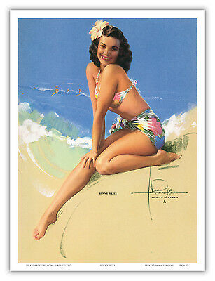 "18x24 ""Aloha Blue Bikini"" 1947 Vintage Driben American Girl Pin-Up Poster"