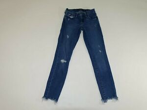 Lucky Brand Women's Stella Skinny Jeans Size 00 / 24 Ankle Blue Crewed Hems 00A