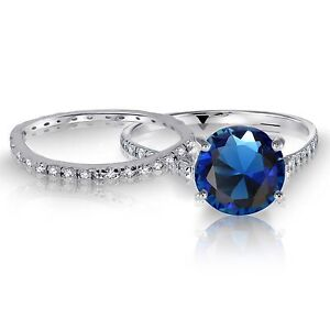 White-Gold-Blue-Sapphire-Wedding-Engagement-Eternity-Sterling-Silver-Ring-Set