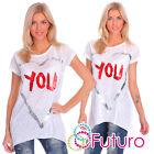 Blanc Pour Femmes Asymétrique T-Shirt You imprimé Haut 100% Tunique Coton Taille