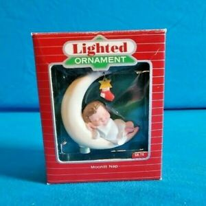 1988-Hallmark-Lighted-Ornament-MOONLIT-NAP-Angel-Sleeping-Moon-Mint