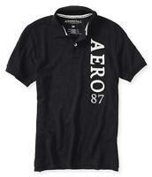 Aeropostale Mens Vertical Aero Solid Logo Polo Shirt Black S,m,l,xl,2xl,3xl