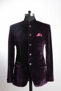 Coat-Purple-Velvet-Men-Suit-Blazer-Casual-Standing-Collar-Jacket-Tuxedo