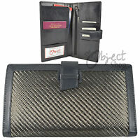 Real Carbon Fibre Genuine Leather Travel Wallet Passport Cover Cheque Book Id