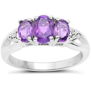 Plata-de-Ley-3-Piedra-Anillo-Compromiso-Ametista-Diamante-Hombros-Talla-H-Con