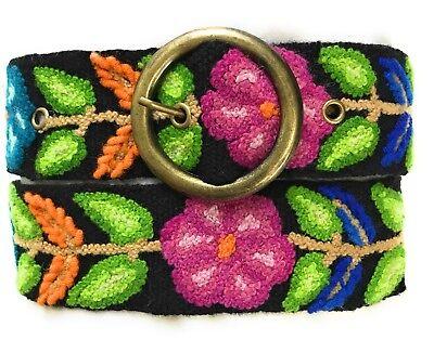 Hand Embroidered Peruvian Black Floral Wool Sundance Belt Size Medium.