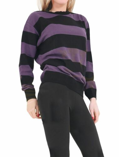 Adults Stripe Knitted Convict Jumper Unisex Long Sleeve Halloween Costume Top