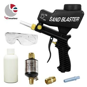 LEMATEC-Gravity-Feed-Sandblaster-Gun-With-Sand-Canned-Nozzle-Tips-Black-Air-Tool