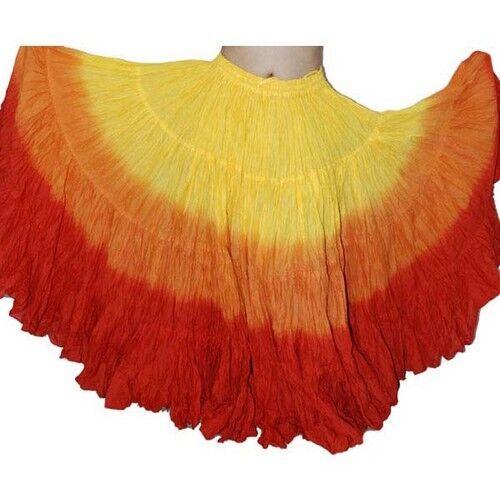 25 Yard 4 Tier Skirt Dance Tribal Skirt 100%  JAIPUR ATS  Tri Color