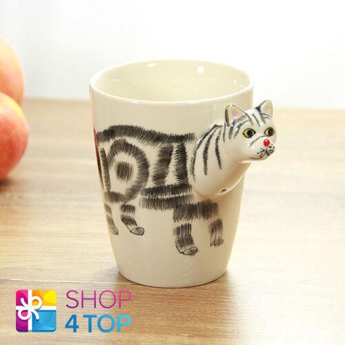Cup Lovely Coffee Tea White Animal 3d Ceramic Cat Shape Handle Mug Black Funny SjUzVGqLMp