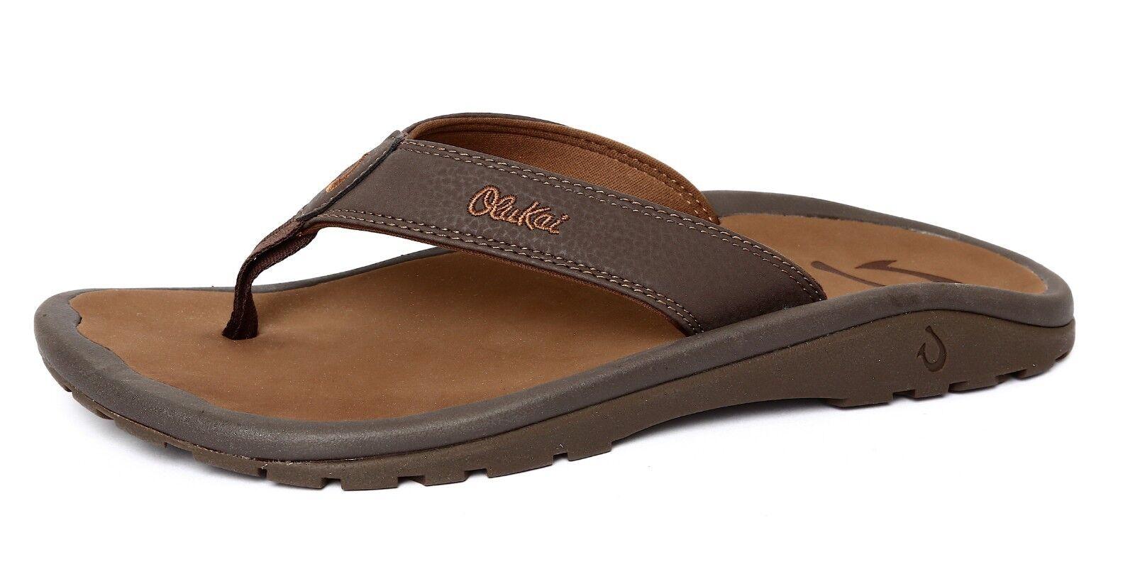 711135728d3c Olukai Ohana Men s Brown Flip Flop Flop Flop Sz 10 US 43 19128d ...