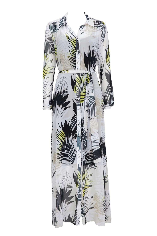Cream Leaf Print Maxi Shirt Dress 12
