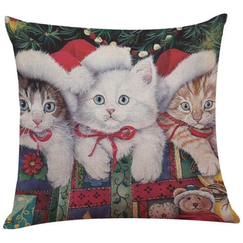 "18/"" Noël Chat Lin Coton Taie d/'oreiller Throw Cushion Cover Home Décor"