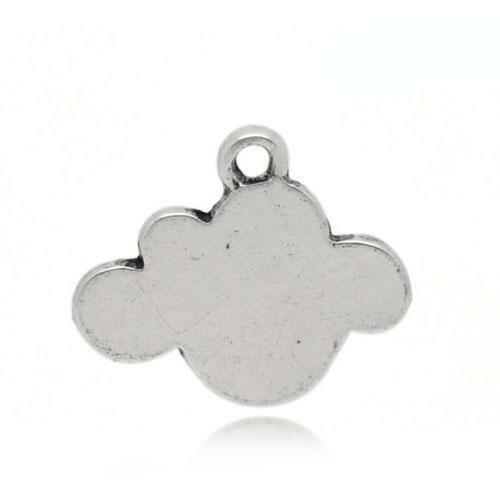 Cloud charm//pendentif Tibétain Argent Antique 16 mm 5 charms Accessoire Bijoux