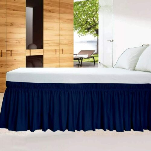 Wrap Around Bed Skirt Elastic Dust Ruffle Three Fabric Sides Cotton Navy Blue