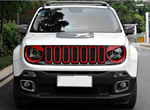 Red Front Grill Insert Angry Eyes Headlight Bezel Cover For Renegade 2015-2018
