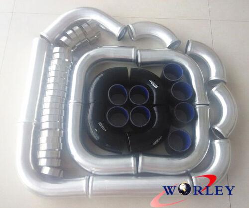 "clamp 3/"" 76 mm Aluminum Universal Intercooler Turbo Piping pipe /& Black hose"