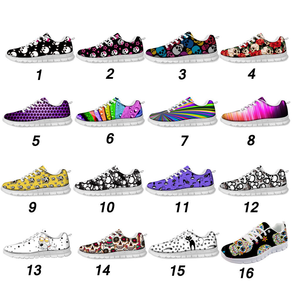 Floral Skull Fashion Women Ladies Running Trainer Mesh Sports shoes Sneakers
