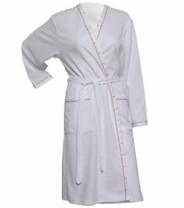 Image is loading Waffle-Dressing-Gown-Ladies-Lightweight-Bathrobe -Summer-Spa- 69ca44035