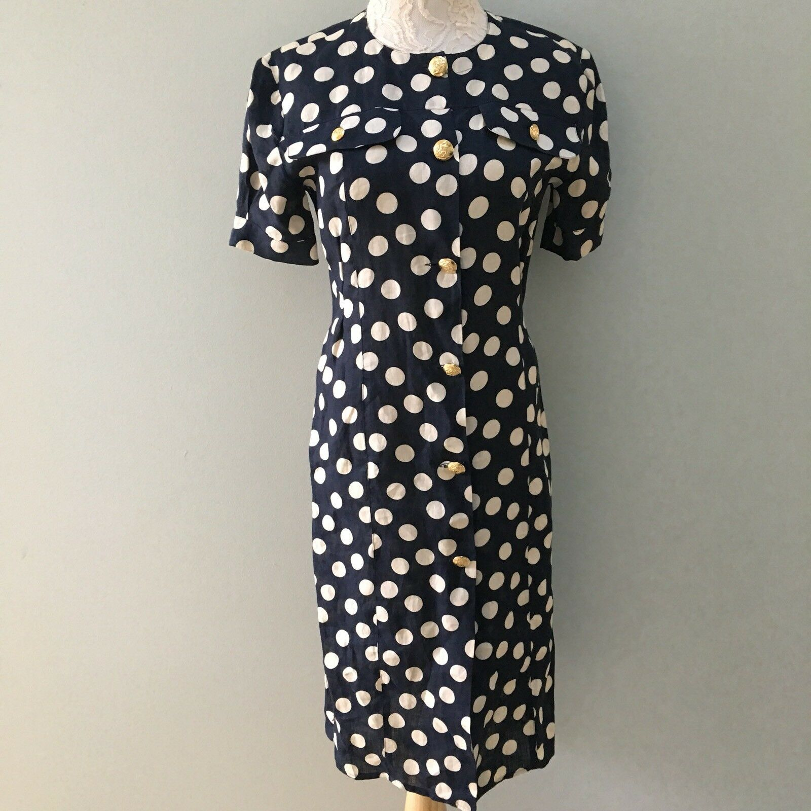 Missoni women Vtg Linen Linen Linen Dress Navy Dots gold  Filigree Buttons US 8 2fc094