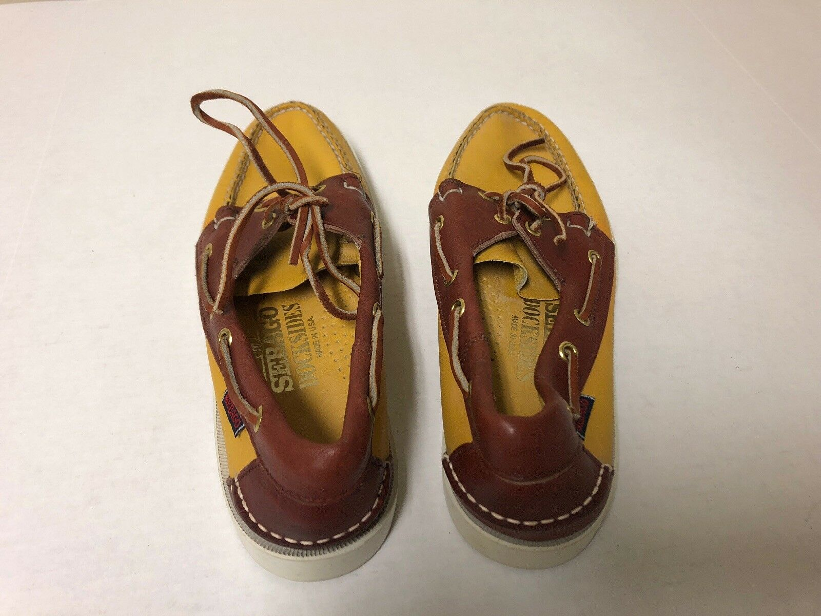 Sebago Docksides Yellow and Brown Leather Boat Deck Loafers shoes Men's 7.5 M
