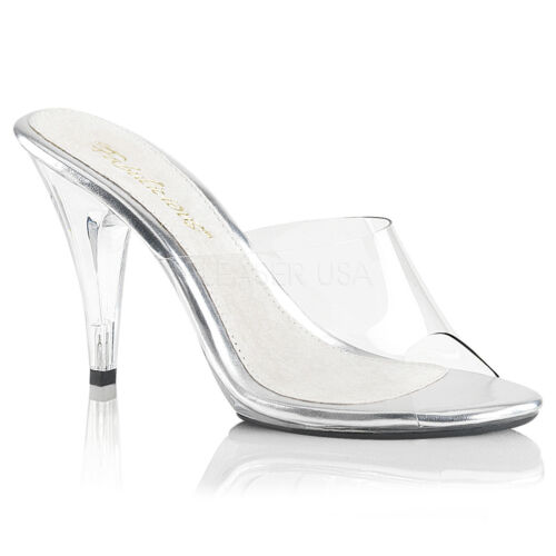 PLEASER FABULICIOUS CARESS-401 CLEAR POSING COMPETITION MULES SANDALS