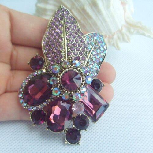 """03.15/"""" Elegant Leaf Flower Brooch Pin w Purple Rhinestone Crystal Gift 06416C4"""