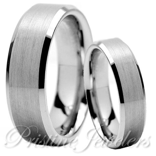 His & Her Silver Tungsten Brushed Mens Wedding Band Promise Engagement Ring Set