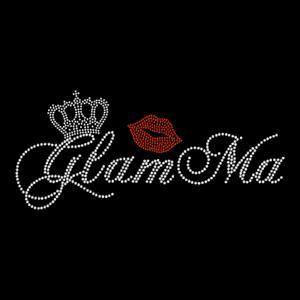 Glamma Glam Ma Grandma Nana Mimi Crown Queen Rhinestone Hotfix Iron On Transfer