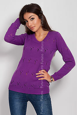 Winter Sweater Womens Jumper Cardigan Long Sleeve Crew Neck Size 8 - 12 FR13