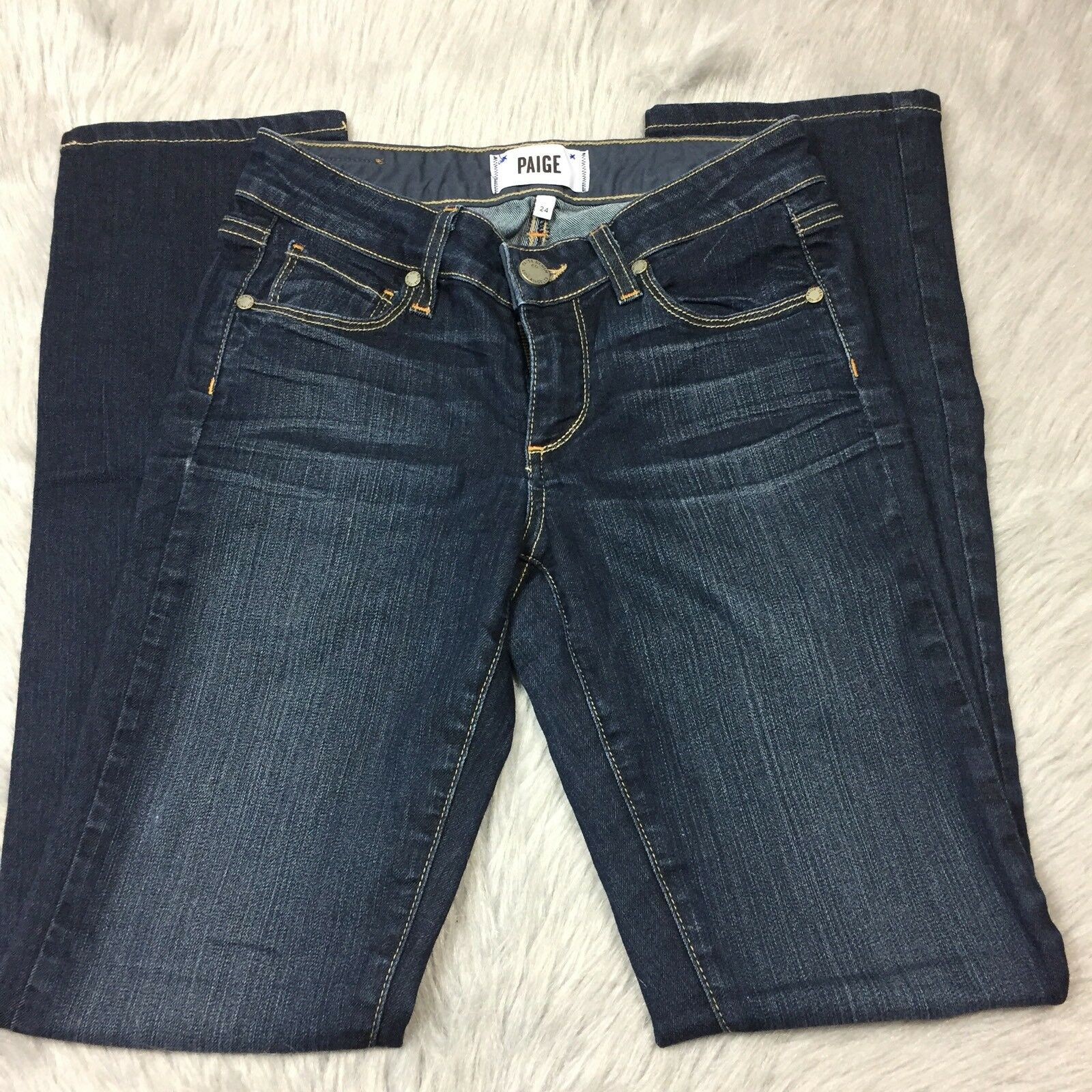 Paige Womens Skyline Straight Dark Wash Whiskered Jeans Sz 24