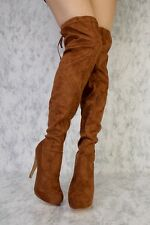 LOT CUTOUT DETAIL POINTED CLOSE TOE THIGH HIGH HEELS BOOTS FAUX SUEDE LEATHER