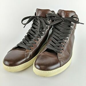 TOM-FORD-Brown-Italian-Leather-034-TF-034-High-Top-Fashion-Sneakers-Size-12