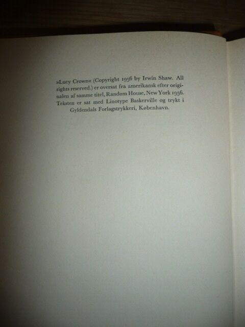 Lucy Crown, Irwin Shaw, genre: roman