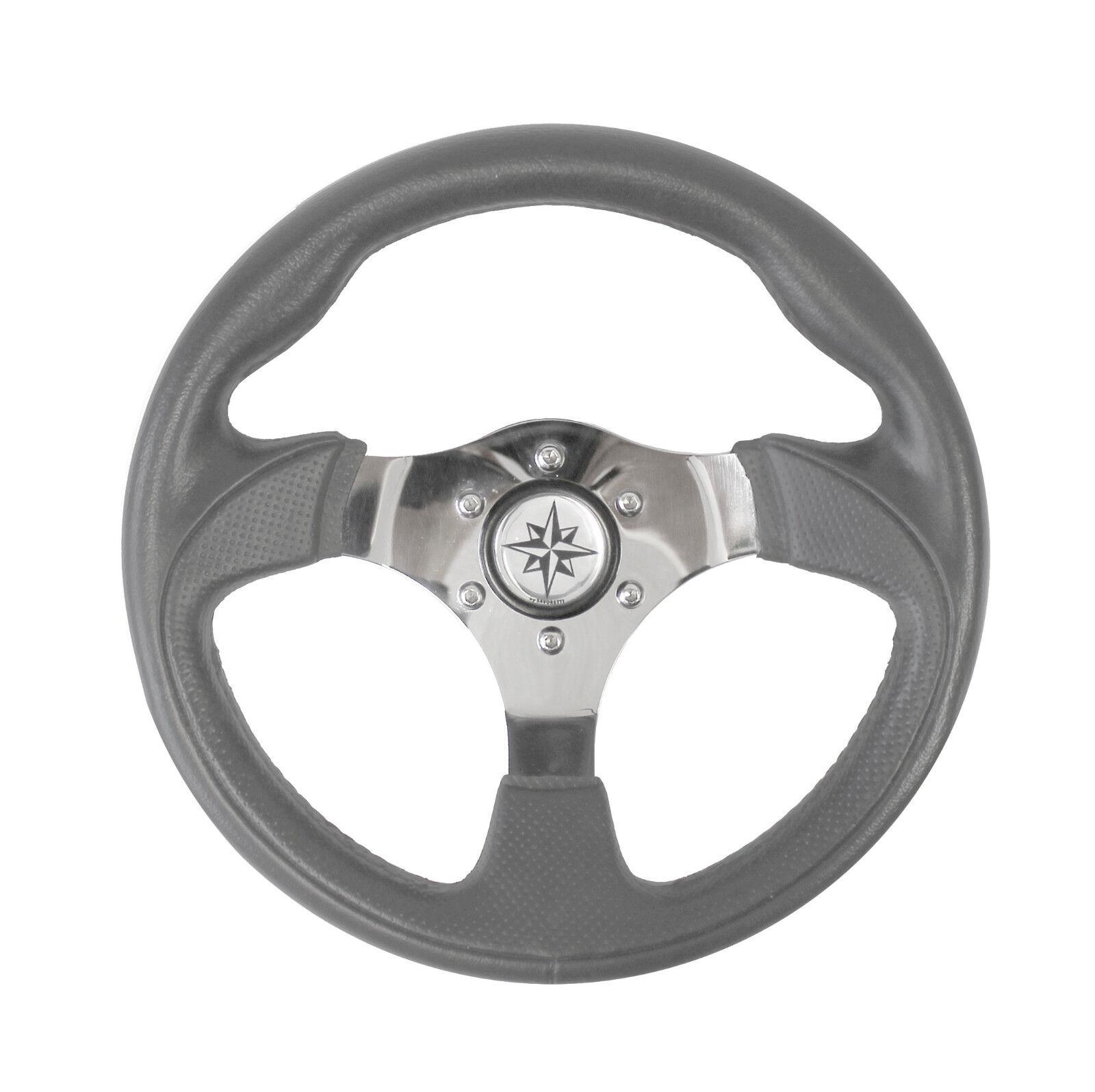 Steuerrad für SportStiefele 30cm Edelstahl grau Lenkrad MotorStiefel Steuer Stiefel