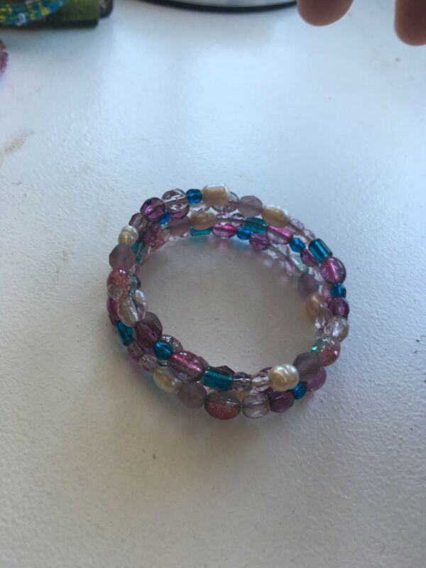 Handmade Purple Mother Of Pearl Wrap Around Bracelet Slinky Multi Layer
