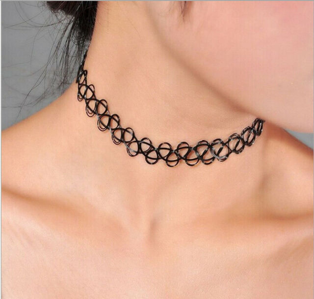 JANE STONE Choker Black Stretch Gothic Tattoo Henna Necklace