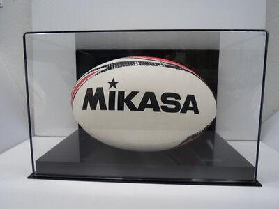 Rugby ball acrylic display case 85% UV filter full size memorabilia black back