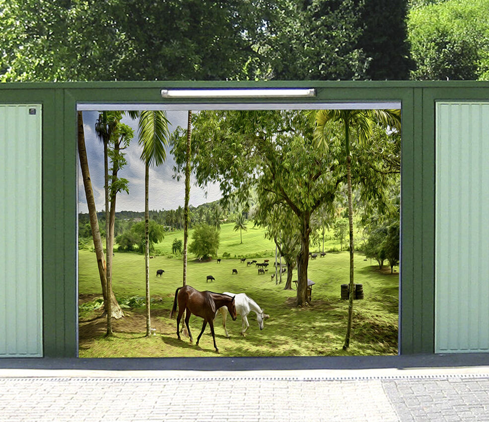 3D Cheval Herbe 93 Garage Door Murals Wall Print Decal Wall Deco AJ WALLPAPER FR