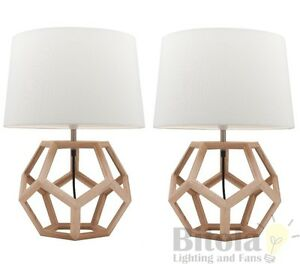 Pair of mercator peeta bedside table lamps timber base white shade image is loading pair of mercator peeta bedside table lamps timber mozeypictures Gallery