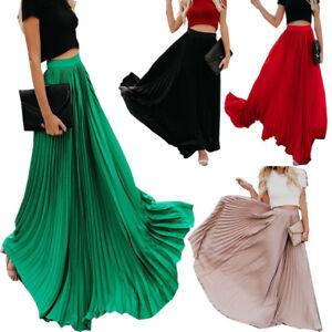 c5a4313d32f0 New Womens Retro Chiffon Pleated Skirt Long Elastic High Waist Beach ...