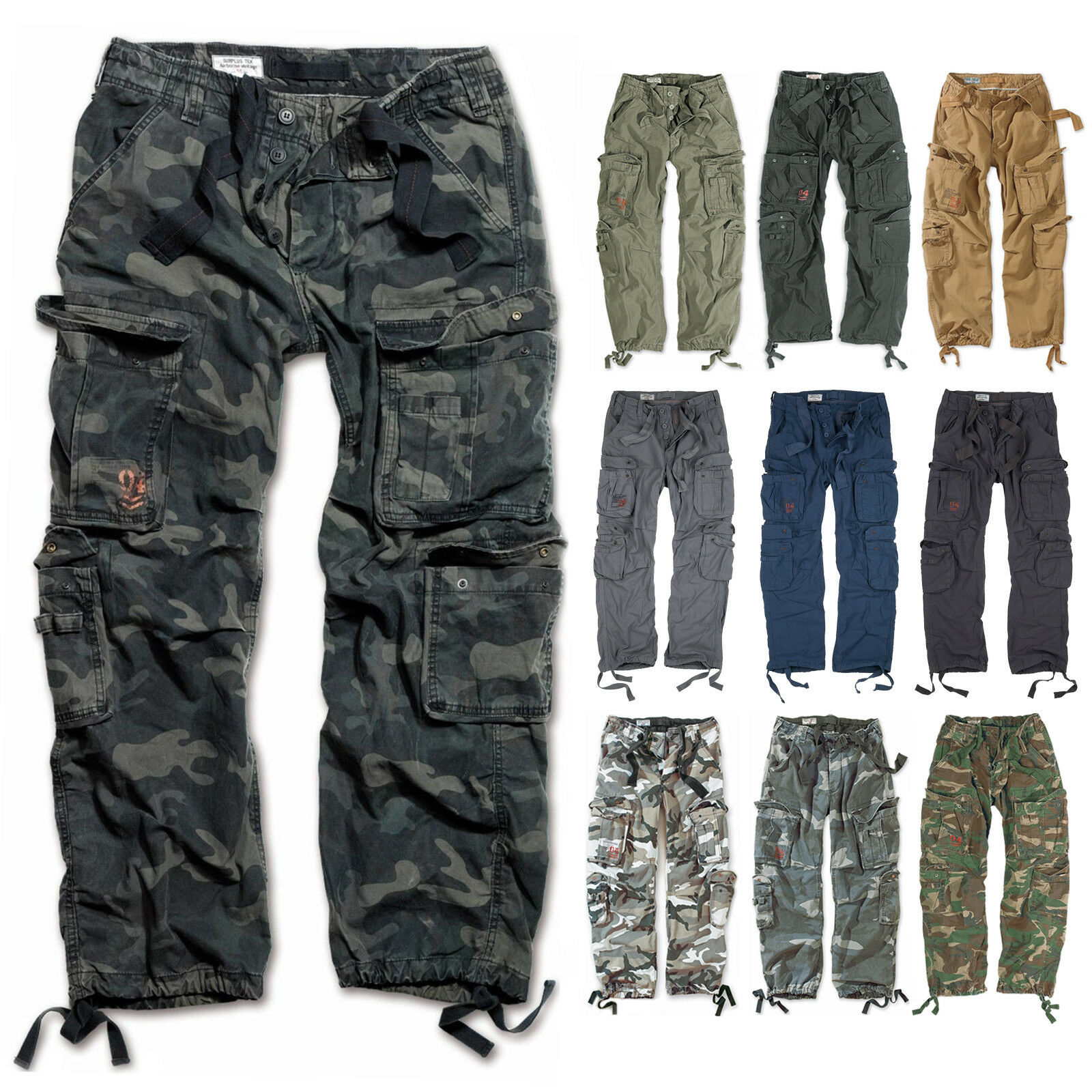 SURPLUS CARGO HOSE AIRBORNE VINTAGE Trousers Streetwear Pants US Army Forces