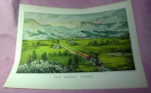 SUPERBE-591ms-VTG-Reproduction-lithographie-Currier-amp-IVES-Le-Grand-Ouest