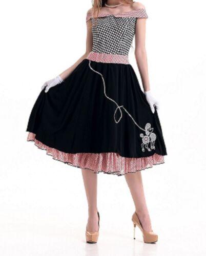 Swing 1950/'s Rockabilly Fancy Dress Black Poodle Skirt Dancewear