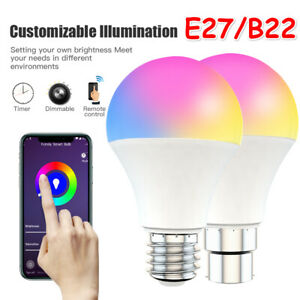 Smart WiFi Dimming Light Bulb 15W RGB+CCT Voice Control For Alexa Google Home