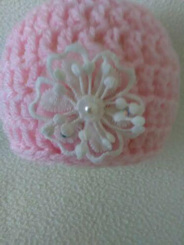 Hand Crochet Newborn Baby Girls Beanie Hat