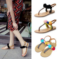 FASHION LADIES WOMENS FLIP FLOP T-BAR PUMPS FLAT SUMMER POM SANDALS SHOES SIZE